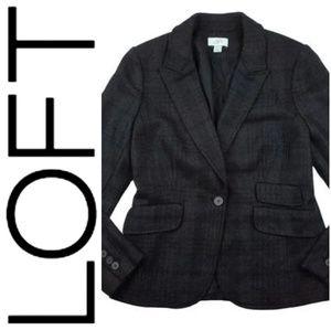 Ann Taylor Loft Black & Gray Wool Blazer